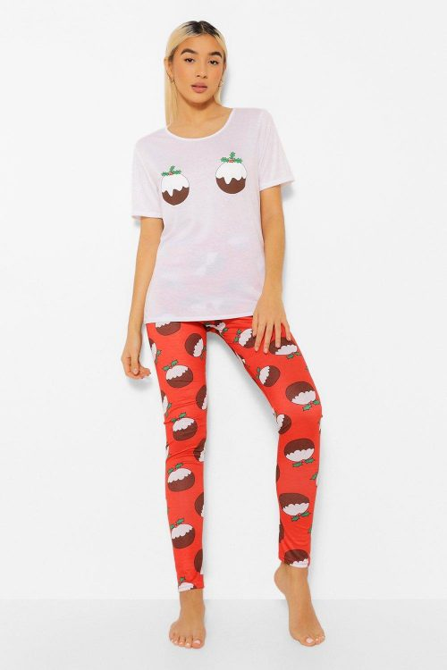 Julig Pajamas Med Plumpudding, Red