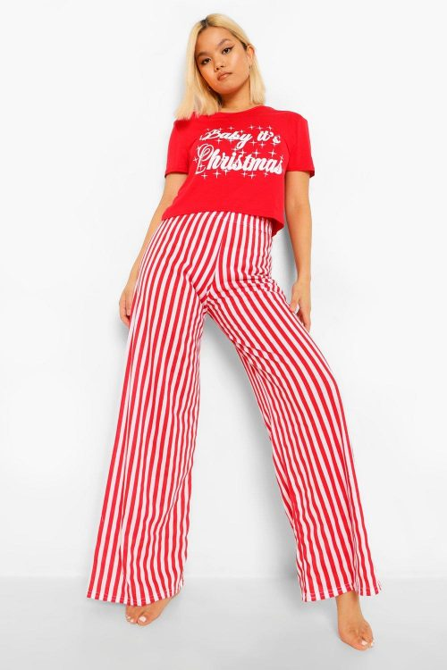 "Petite - ""Baby Its Christmas"" Pajamas Med Vida Byxor, Red"