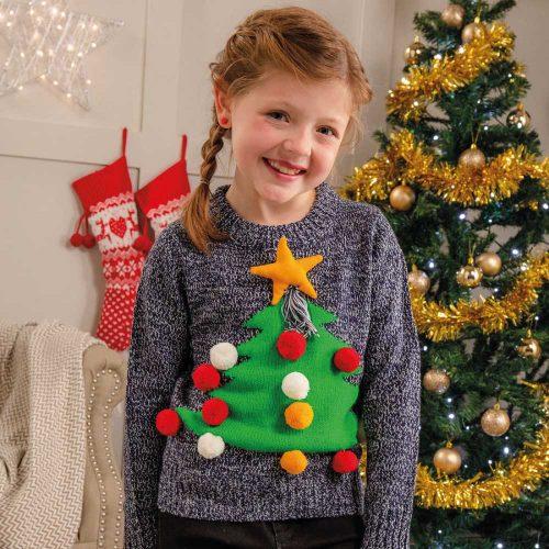 Stickad Jultröja julgran | Barn